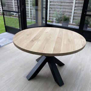 Aerts eettafel rond, 120 cm, zwarte spinpoot1